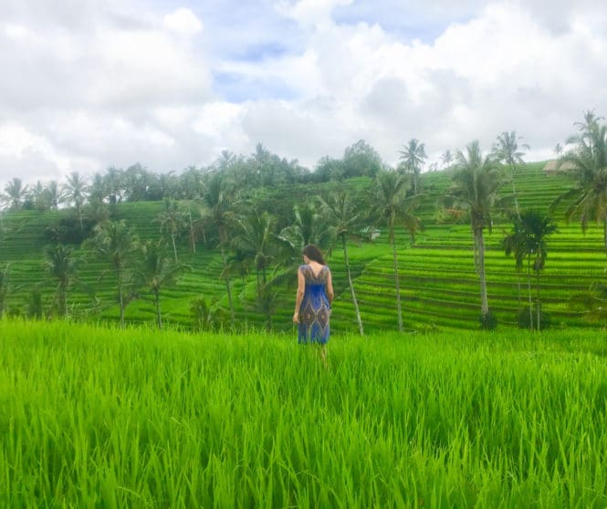 Milijana Gabrić, the travel blogger form WorldTravelConnector.com walking in Jatiluwih Bali rice terraces