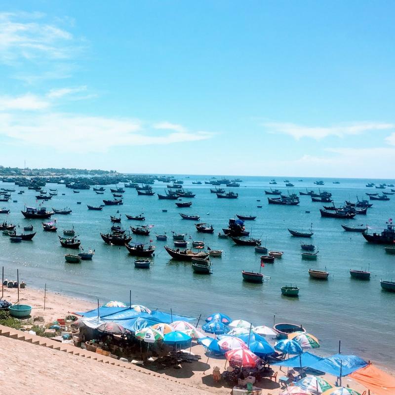Muine Harbor near the Fairy Stream in Mui Ne in Vietnam
