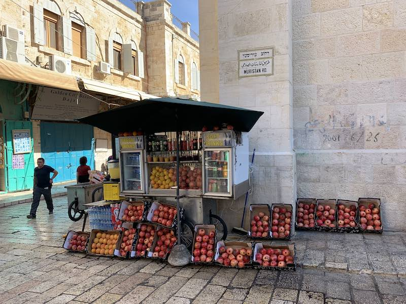 A stall with fresh Israeli drinks in Jerusalem