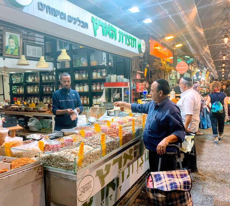 machane yehuda food market in Jerusalem with popular Israeli food