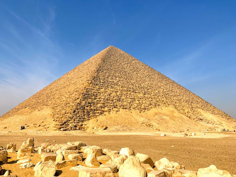 Red pyramid of Dahshur necropolis is one of famous landmarks in Egypt
