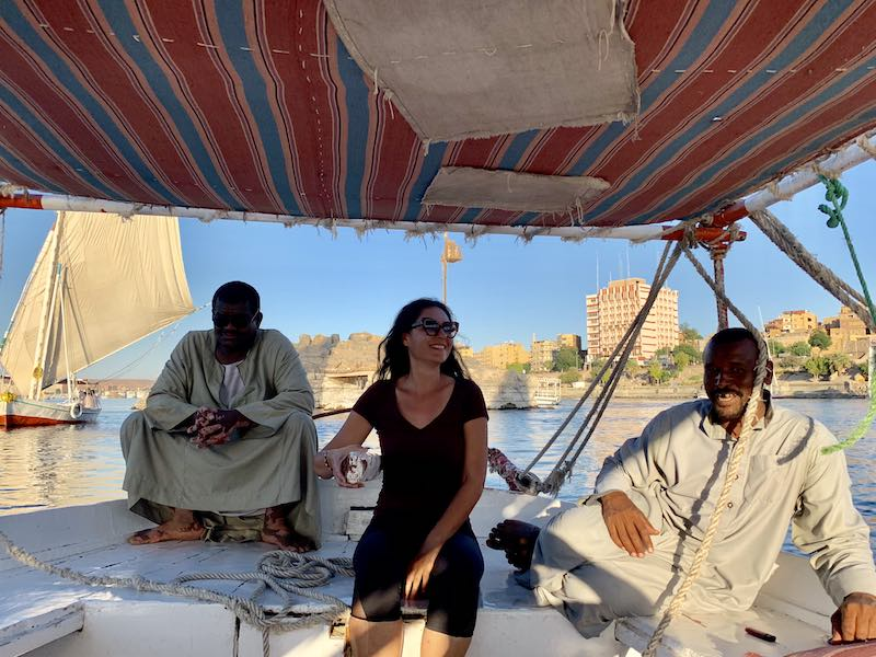 One of the best things to do in Egypt is to have a felucca ride on Nile river