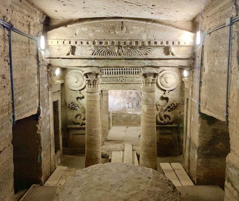 The catacombs of Kom El Shoqafa are one of famous Egypt landmarks