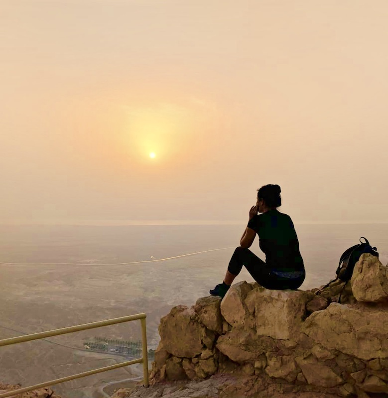 Hiking Masada for sunrise and waiting the sunrise at the top of Masada