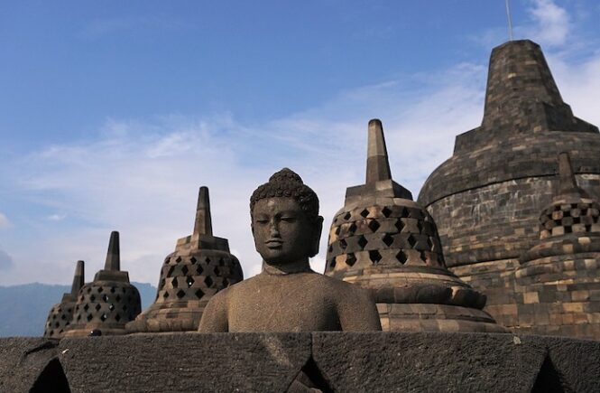 Borobudur temple in Indonesia is one of the most famous Buddhist temples in Asia