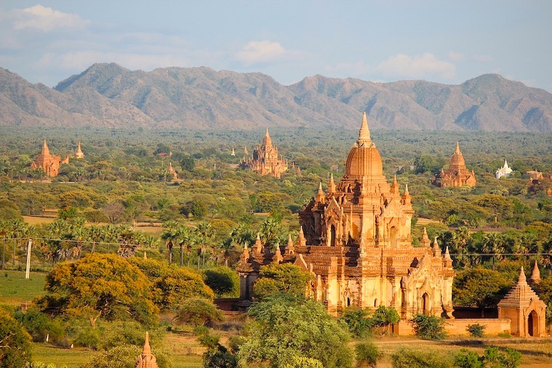 Buddhist tempes in Bagan in Myanmar are some of the most famous Buddhist temples in Asia