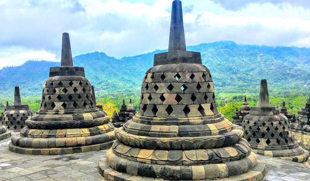 Borobudur and Prambanan temples in Java in Indonesia