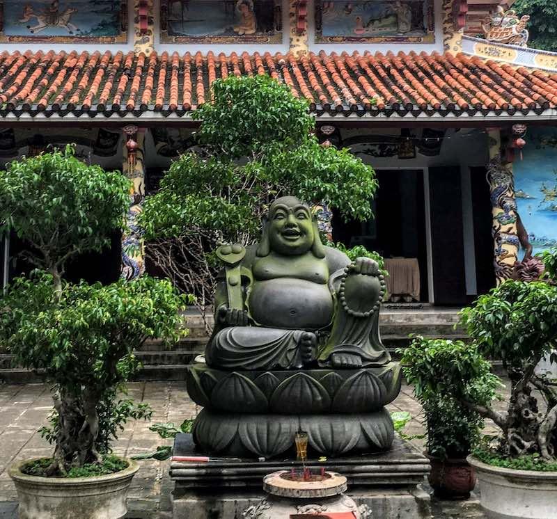 Skinny Buddha vs Fat Buddha in Tam Thai pagoda Da Nang in Vietnam