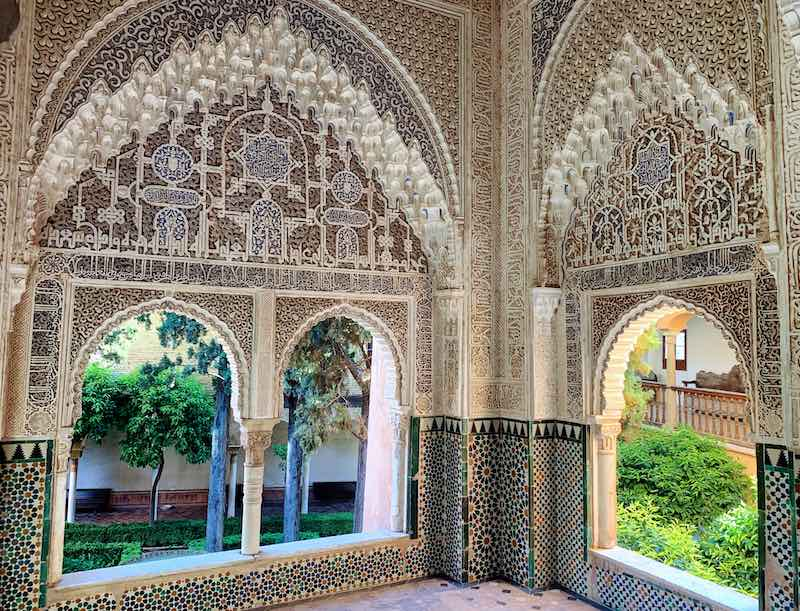 Alhambra tips include visiting Daraxa's Mirador and all of Nasrid Palaces early morning as possible