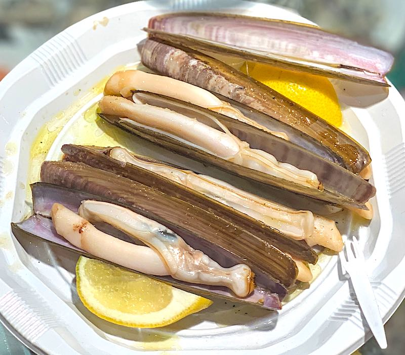 Razor shells are famous seafood in Spain