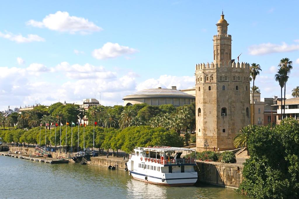 Gold Tower in Seville should be on any Andalucia road trip itinerary