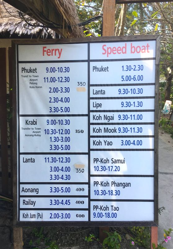 Schedule of speed boats and ferries from Koh Phi Phi island for your 10 day Thailand itinerary   I 10 Days Thailand Itinerary I Thailand Itinerary 10 Days I Best Things to do in Thailand in 10 days I Best Things to See in Thailand in 10 days I
