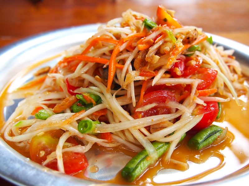 Southeast Asian green papaya salad is one of the most famous foods around the world