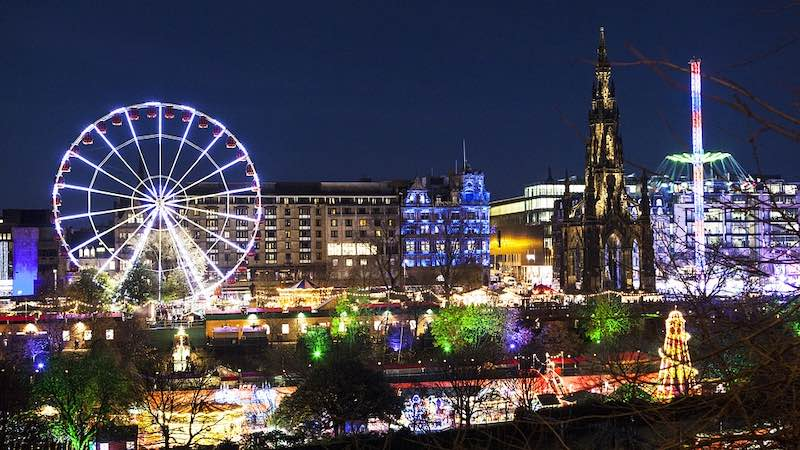 Edinburg in Scotland is one of the best places to spend Christmas in Europe