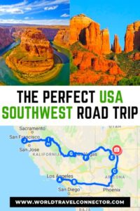 The Perfect USA Southwest road trip goes from Los Angeles in California to Arizona and Nevada and back to California  ie Yosemite NP and san Francisco