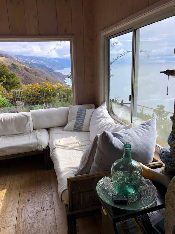 Lounge view of the Big Sur airbnb oceanfront ranch house