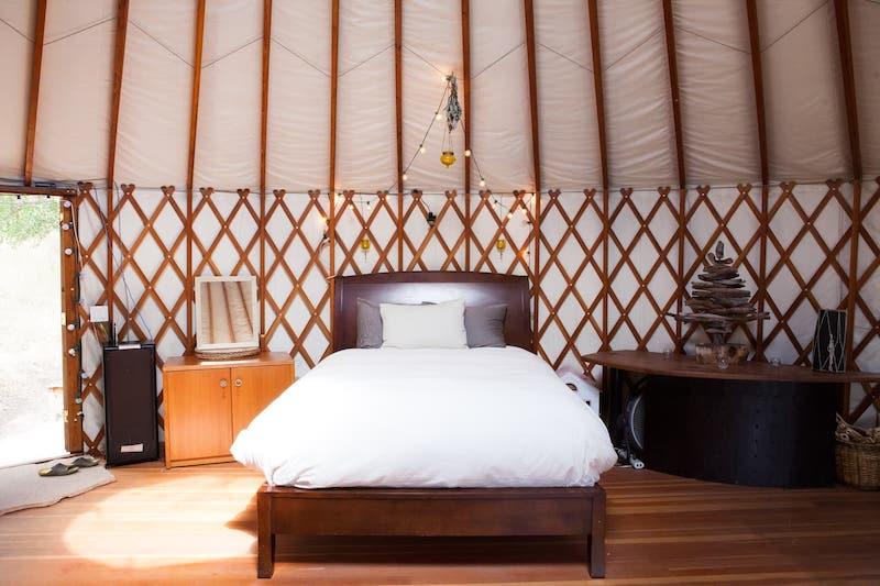 Inside a Yurt in Santa Barbara