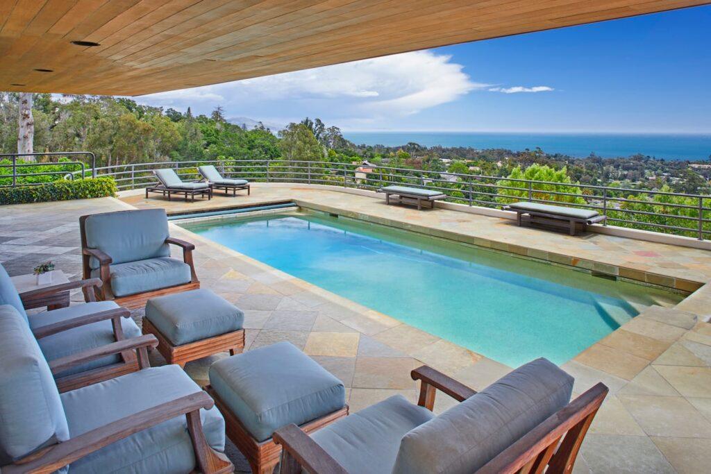 the pool of the best luxury airbnb in Santa Barbara