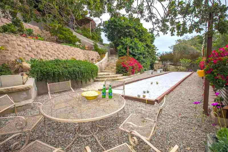 A terrace of the Hilltop Retreat airbnb in Santa Barbara