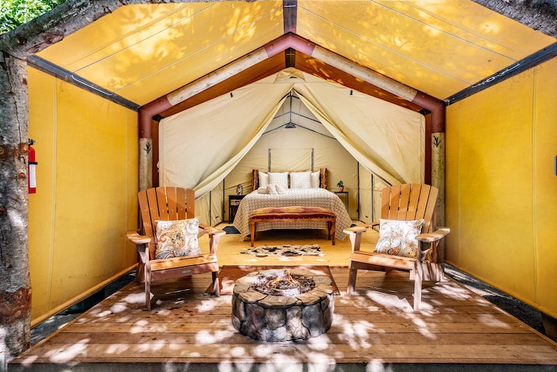 This luxury tent is one of the best Big Sur glamping sites