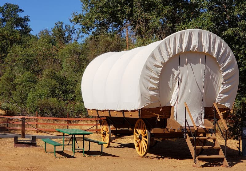A wagon for glamping in Yosemite