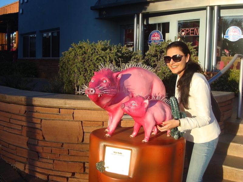 Milijana Gabrić with the pink Javelina statue in Sedona in Arizona