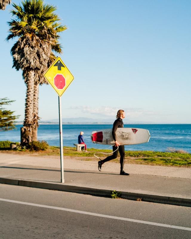 a surfer in santa cruz, california