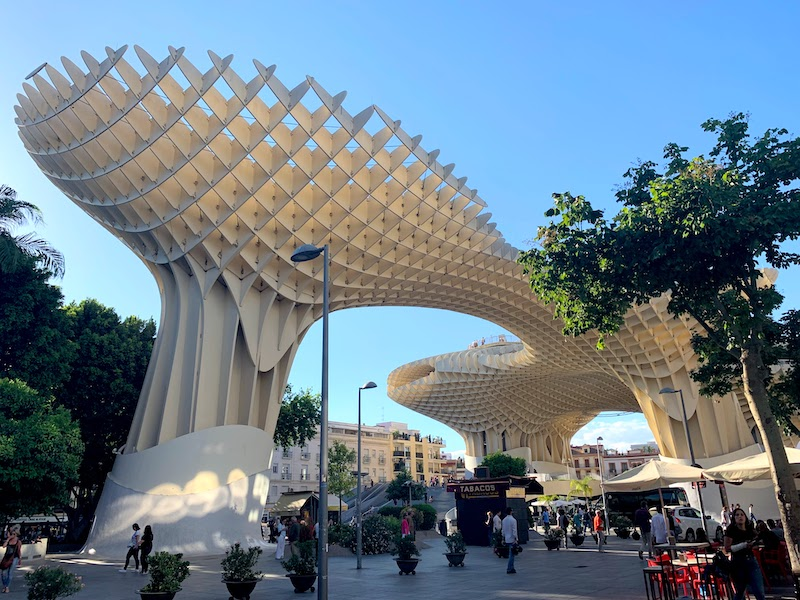 Getting to the top of Metropol Parasol for sunset views of Seville is one of the best things to do in Seville in Spain
