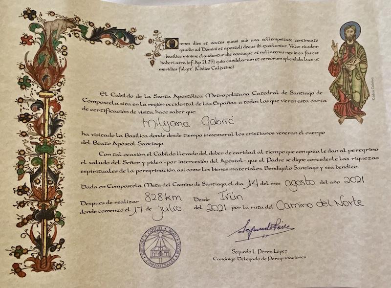 Compostela pilgrim certificate for the Camino de Santiago