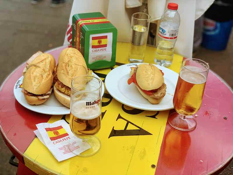 Spanish bocadillos with beverages make one of most favorite Spanish breakfasts